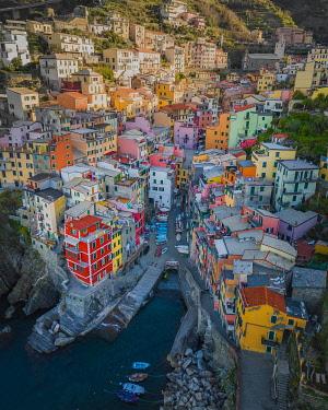 IBXLRE04928000 Aerial view of Riomaggiore, harbour, Cinque Terre, Italy, Europe