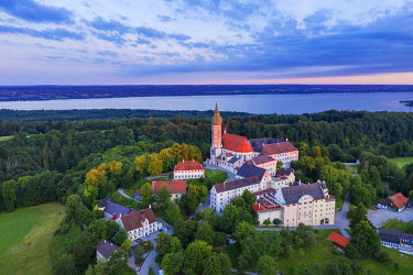 IBXMAN04963045 Andechs Monastery, aerial view at sunrise, Lake Ammer at the back, Funfseenland, Pfaffenwinkel, Upper Bavaria, Bavaria, Germany, Europe