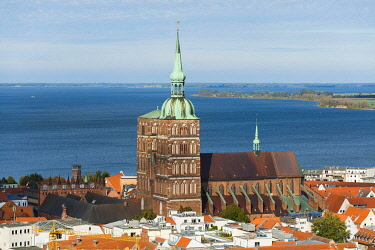 IBXOGE04966794 Nikolaikirche and Old Town, view from the tower of St. Mary's Church, Stralsund, Mecklenburg-Western Pomerania, Germany, Europe