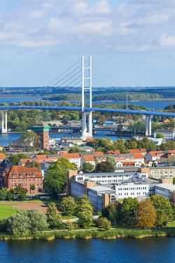 IBXOGE04966797 Town view with bridge Rugenbrucke, behind island Rugen, view from the tower of the St. Mary's Church, Stralsund, Mecklenburg-Western Pomerania, Germany, Europe