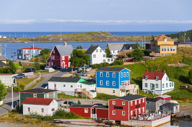 IBXOGE05010605 Colorful wooden houses, Trinity, Trinity Bay, Newfoundland and Labrador, Canada, North America