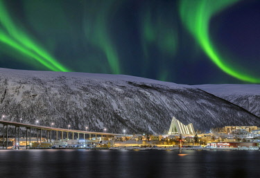 IBXRFI04906556 Fjord with bridge to Arctic Sea Cathedral, Northern Lights, Tromso, Norway, Europe
