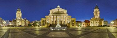 IBXRFI04914092 Gendarmenmarkt, illuminated, Panorama, Berlin, Germany, Europe