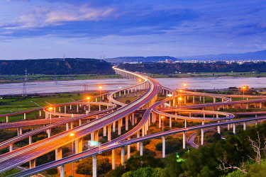 IBXTPG04804704 National Highway No. 3 over Qingshui River, Qingshui Interchange at dusk,Taichung, Taiwan, China, Asia