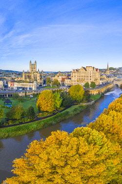 UK08595 Bath city center and River Avon, Somerset, England