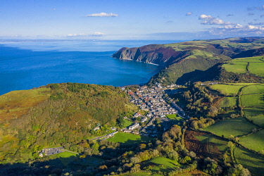 UK08635 Aerial view over the Valley of the Rocks and Lynton, Exmoor National Park, North Devon, England