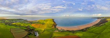 UK08640 Aerial view over Putsborough beach towards Woolacombe, Morte Bay, North Devon, England