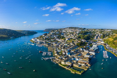 UK08657 Aerial view of Salcombe on the Kingsbridge Estuary, Devon, England
