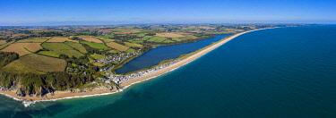 UK08672 Aerial view of Slapton Sands, Devon, England