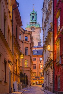 SW01123 Sweden, Stockholm, Gamla Stan, Old Town, Storkyrkan Cathedral, dusk