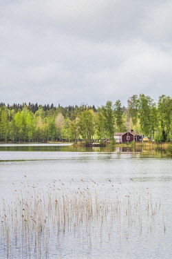 SW03145 Sweden, Southeast Sweden, Skullaryd, lake view, springtime