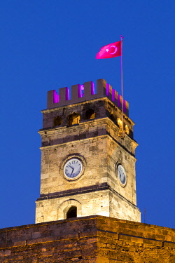 TK298RF Clock Tower at Dusk, Antalya, Turkey