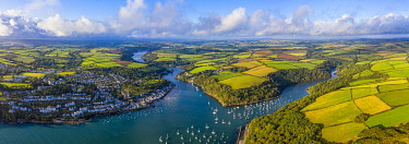 UK08686 Aerial view over Fowey, Cornwall, England