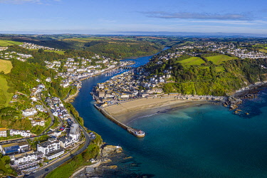 UK08709 Aerial view over Looe, Cornish fishing town, Cornwall, England