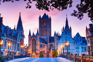 BEL1933AW St Nicholas Church at dawn, Ghent, Flanders, Belgium