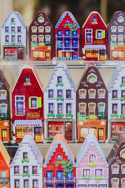 BEL1987AW Miniature of the typical colored belgian houses in a shop in Bruges, Belgium