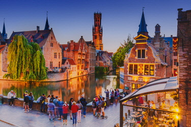 BEL2003AW Elevated view of Bruges old town reflecting in the water canal at sunset by night, Belgium