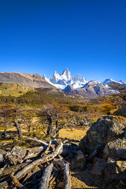 ARG3126AW Fitz Roy mountain against sky viewed from trail in autumn, Los Glaciares National Park, El Chalten, Santa Cruz Province, Argentina