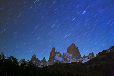 ARG3134AW Fitz Roy at night with star trails from Poincenot campground, Los Glaciares National Park, El Chalten, Santa Cruz Province, Argentina