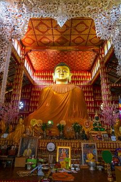 MYA2455AW Big Buddha statue inside Ko Yin Lay Monastery near Kengtung, Mong La, Mong La Township, Kengtung District, Shan State, Myanmar