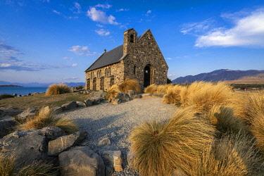 NZ9520AW Church of the Good Shepherd before sunset, Tekapo, Mackenzie District, Canterbury, South Island, New Zealand