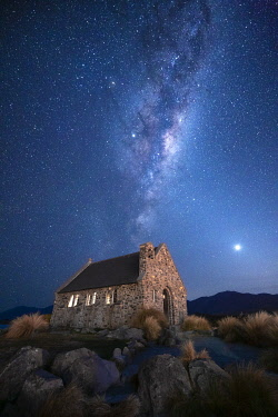 NZ9524AW Milky way galactic center over Church of the Good Shepherd, Tekapo, Mackenzie District, Canterbury, South Island, New Zealand