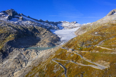 Aerial view on Furka pass road and Rhone glacier, Valais, Switzerland