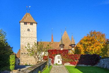 SWI8511AW Spiez castle, Spiez, Berner Oberland, Switzerland