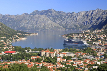 MNT0053AW Montenegro, Bay of Kotor, Kotor. A cruise ship in the bay.