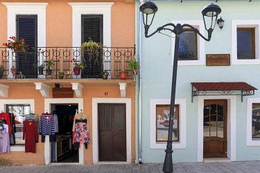 MNT0055AW Montenegro, Cetinje Municipality, Cetinje. Shops in the city centre.