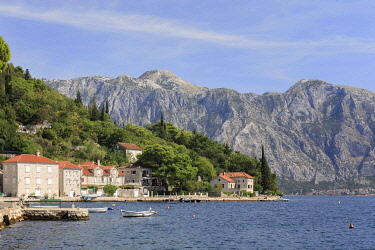MNT0065AW Montenegro, Bay of Kotor, Perast. The village and mountains.