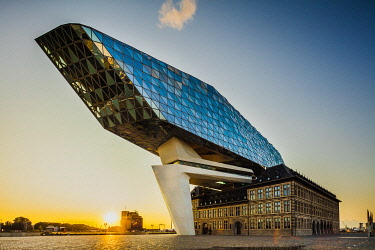 BEL2064AW Port Authority building by Zaha Hadid architect at sunset in Antwerp, Belgium
