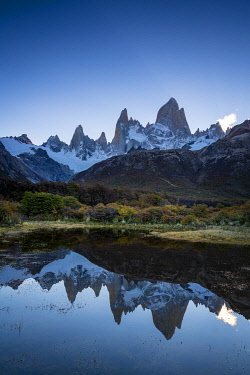 ARG3132AWRF Fitz Roy in autumn before sunset, Los Glaciares National Park, El Chalten, Santa Cruz Province, Argentina