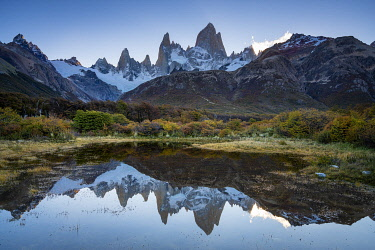 ARG3133AWRF Fitz Roy in autumn before sunset, Los Glaciares National Park, El Chalten, Santa Cruz Province, Argentina
