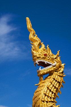 MYA2460AWRF Golden dragon statue at Dhart Zom Doi Kabar Aye Pagoda near Kengtung, Mong La, Mong La Township, Kengtung District, Shan State, Myanmar