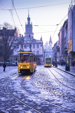 UA01155 Ukraine, Lviv, Rynok Square, Market Square, Square Was Planned In The Second Half Of The 13th Century, Electric Commuter Trolley, Medieval Cobblestone Streets, Lviv Survived Soviet And German Occupati...
