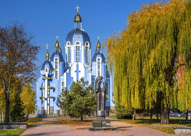 UA01173 Ukraine, Vinnytsya, Monument To Victims Of The Chernobyl Nuclear Disaster, In Front Of The Church Of The Holy Mary, Orthodox Church