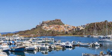 IT12472 Italy, Sardinia, Sassari Province, Castelsardo, View over marina towards ancient castle