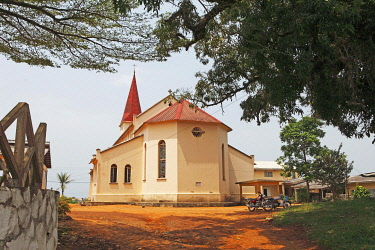 IBLCXB03290735 Historic church of the Catholic Pallottine Mission, Kribi, South Region, Cameroon, Africa