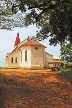 IBLCXB03290736 Historic Church of the Catholic Pallottine Mission, Kribi, South Region, Cameroon, Africa