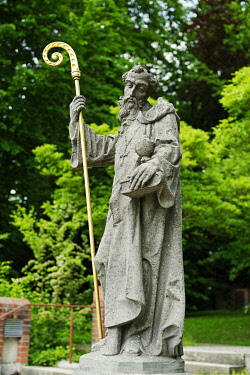 IBLDWB03675673 Statue of St. Benedict in front of the Benedictine monastery, St. Ottilien Archabbey, St. Ottilien, Eresing, Upper Bavaria, Bavaria, Germany, Europe