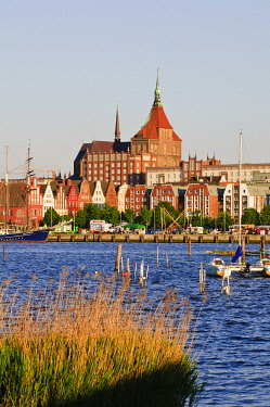 IBLEWR01473817 Old town with the Marienkirche church, Warnow river and harbour, Rostock, Mecklenburg-Western Pomerania, Germany, Europe