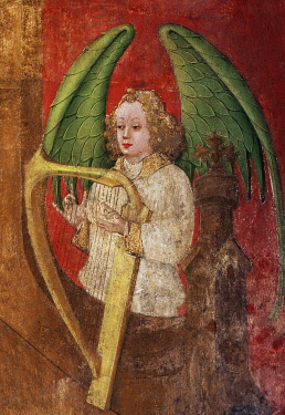 IBLKAS03241735 Angel playing a harp, detail, fresco from the 15th century, Basilica of St. Lambertus, historic center, D�sseldorf, Rhineland, North Rhine-Westphalia, Germany, Europe