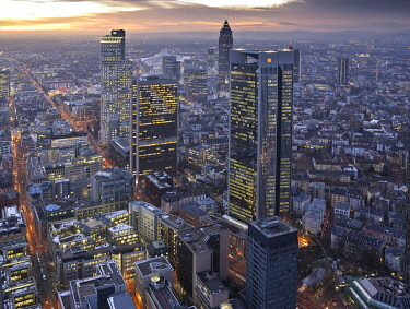 IBLMOX01471012 Skyline of Frankfurt, Trianon skyscraper, downtown with office buildings, in the back the Messeturm fair tower, Westend district, Frankfurt, Hesse, Germany, Europe