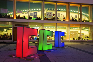 IBLOHA01454406 Illuminated letters in front of the Berlin Congress Center, bcc, during the Chaos Communication Congress 26C3 of the Chaos Computer Club, Berlin, Germany, Europe