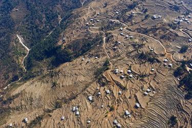 IBLOMK01875584 Aerial view of fields near Tashigang, Bhutan, East Bhutan, Asia