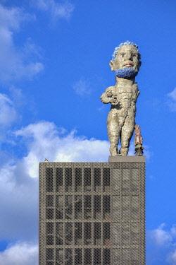 IBLRBB04003195 Herkules von Gelsenkirchen, artwork by Markus Lupertz, on the tower of the former Zeche Nordstern colliery, Gelsenkirchen, Ruhr district, North Rhine-Westphalia, Germany, Europe