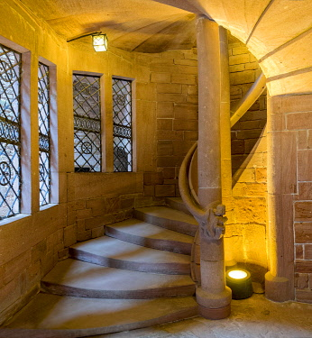 IBLRFI05047220 Spiral staircase, Chateau du Haut-Konigsbourg, Orschwiller, Alsace, France, Europe