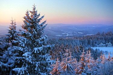 IBLSZI04511578 Winter landscape, Rothaargebirge in winter, near Hilchenbach, Siegerland, North Rhine-Westphalia, detschland