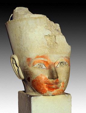 IBLUSK03574214 Fragment of an Osiris statue at Hatshepsut's Temple, Deir el-Bahari, Luxor, Luxor Governorate, Egypt, Africa